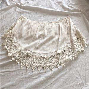Embroidered bandeau crop top